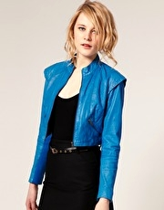 ASOS Cropped Leather Jacket With Shoulder Detail