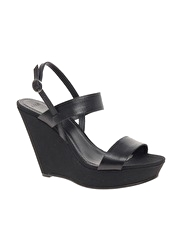 ASOS HARRIS Leather & Canvas Wedge Sandal