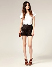 ASOS High Waist Leather Shorts