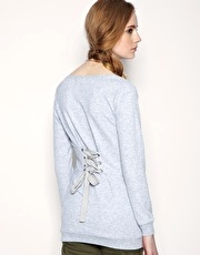 ASOS Lace Up Back Slash Neck Sweater