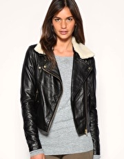 ASOS Leather Aviator Jacket With Detachable Faux Fur Collar