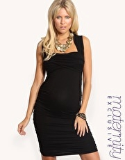 ASOS MATERNITY Exclusive Black Ruched Wrap Bust Dress