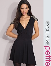 ASOS PETITE Exclusive Premium Embellished Shoulder Skater Dress