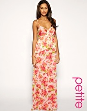 ASOS PETITE Watercoloured Tiered Strappy Maxi Dress
