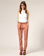 ASOS Pleat Front Twill Trousers