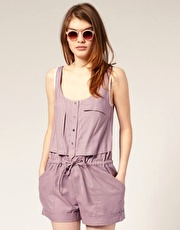 ASOS Tab Pocket Linen Mix Playsuit