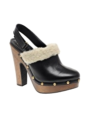 ASOS TORONTO Shearling And Leather Slingback Clogs