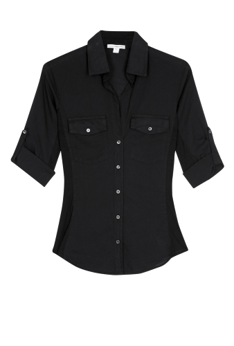 Black Side Panel Button Front Shirt by James Perse