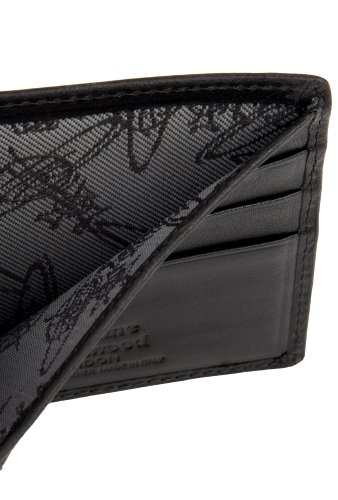 Black Stamp Orb Three Fold Wallet by Vivienne Westwood