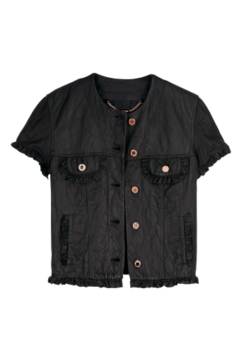 Black Washed Frill Jacket by Mulberry