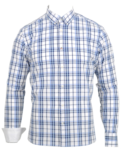 Boomerang Kalle Trim Fit Checked B.D Shirt White