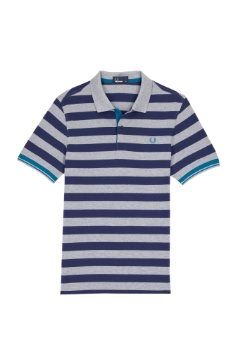 Dark Grey Navy Block Stripe Polo by Fred Perry