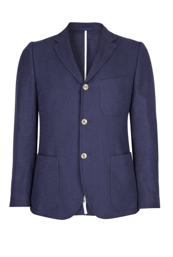 Deep Blue Cotton Linen Hopsack Blazer by Our Legacy