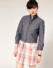 Fred Perry Chambray Cropped Harrington Jacket