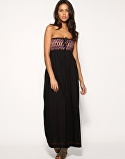 French Connection Cotton Embroidered Bandeau Maxi Dress