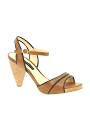 French Connection Jaeger Open Toe Piped Heeled Sandal
