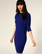 Full Circle Zip Neck Knitted Wool Mix Dress