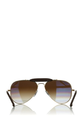 Gold Chocolate Leather Detail Aviators by Ray Ban