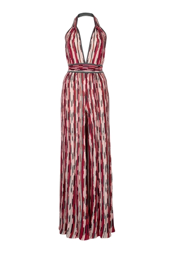 Halter Neck Vertical Striped Jumpsuit by M Missoni