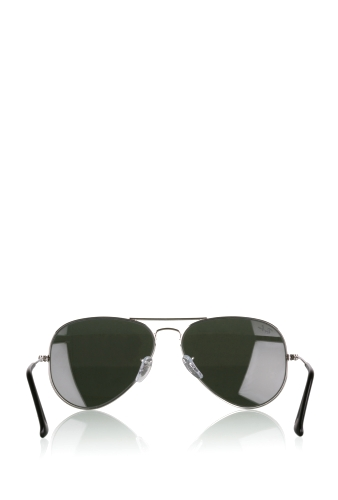Mirrored Lens Classic Silver Aviator Sunglasses by Rayban