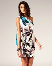 Miss Sixty One Shoulder Printed Dress