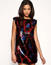 Miss Sixty Sequin Animal Backless Dress