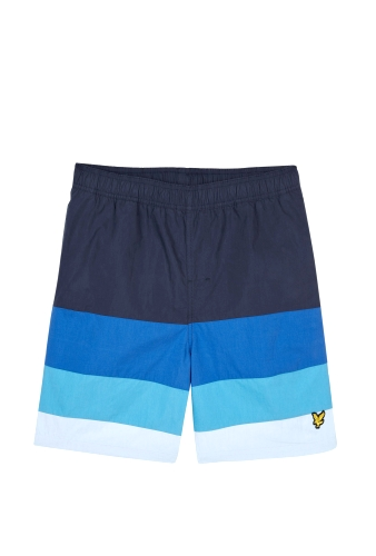 Navy Band Stripe Swimshorts by Lyle and Scott