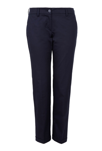 Navy Cropped Cuffed Cotton Chinos by Love Moschino