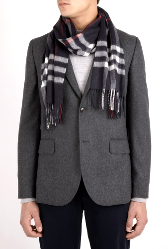 Navy Icon Check Cashmere Scarf by Burberry