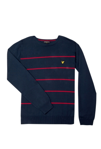 Navy Red Sailing Stripe Cotton Knit by Lyle and Scott