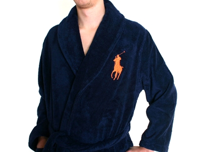 Polo Ralph Lauren - Shawl Orange Logo Robe Navy