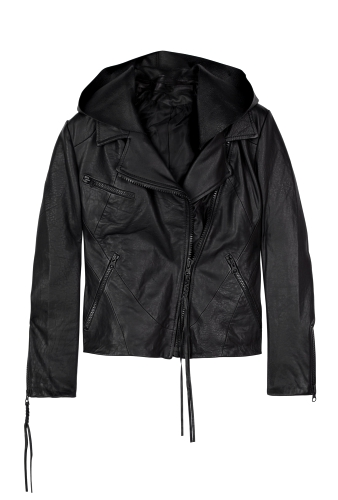Scuba Star Hooded Leather Jacket by Acne
