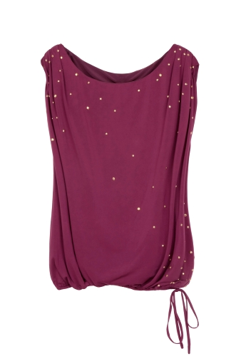 Studded Side Tie Sleeveless Top by Halston Heritage