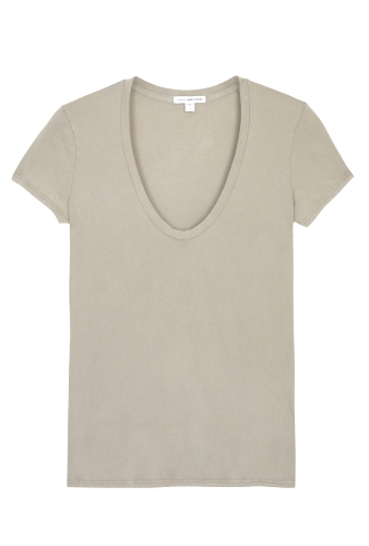 Taupe Grey Short Sleeve Casual Tee by James Perse