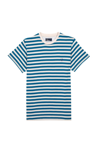 Turquoise Grey Stripe Tee by Fred Perry