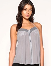 Vero Moda Very Silk Cami With Mesh And Zip Front Detail