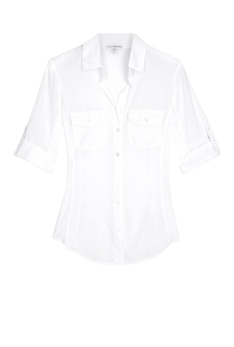 White Side Panel Button Front Shirt by James Perse