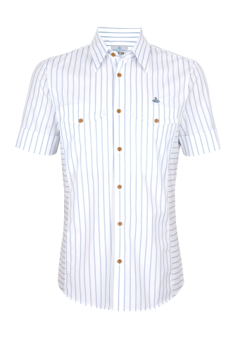 White Stripe Fitted Short Sleeve Shirt by Vivienne Westwood